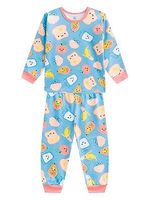 Pijama Brandili Breakfast Malha Longo Infantil Feminino Azul