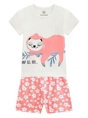 Pijama Brandili Preguiça Malha Curto Infantil Feminino Bege
