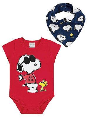 Body para Bebê Marlan Curta com Babador Bandana Snoopy