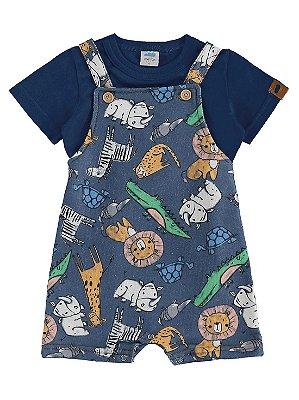 Conjunto para Bebê Marlan Camiseta Curta e Macaquingo Bichos
