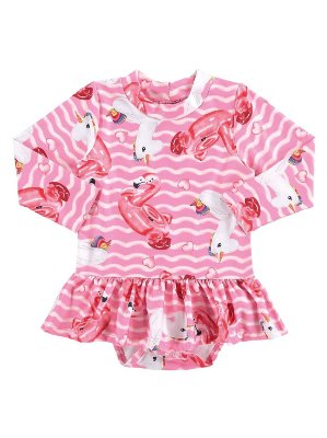 Body bebê Marlan FPS UV Surfista Flamingos Unicórnio Rosa