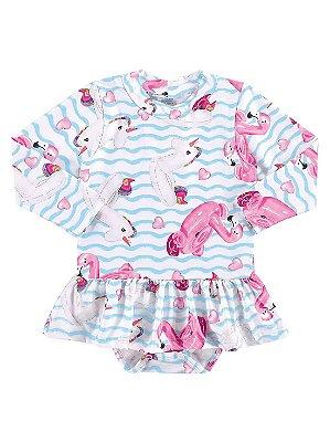 Body bebê Marlan FPS UV Surfista Flamingos Unicórnio Branco