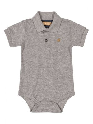 Body Polo para Bebê Up Baby Manga Curta Suedine Cinza