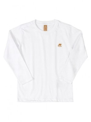 Camiseta Up Baby Longa Básica Menino Algodão Branca