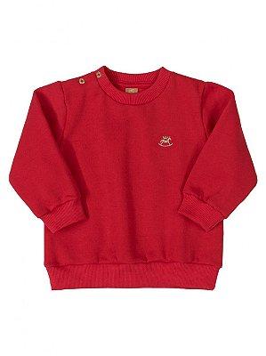 Blusão Up Baby Longa em Moletom Gola Redonda Vermelho