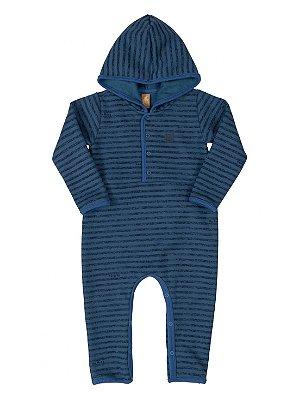 Macacão para bebê Up Baby Longa Moletom Ursinho Listra Azul