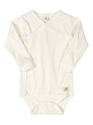Body Kymono para Bebê Up Baby Longa Canelado Nature Natural