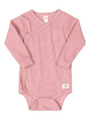 Body Kymono para Bebê Up Baby Longa Canelado Nature Rosa