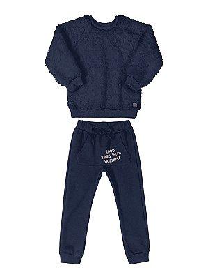 Conjunto Infantil Up Baby Blusão Pêlo Calça Moletom Marinho