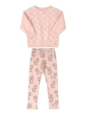 Conjunto Infantil Up Baby Blusão Pêlo Calça Molecotton Rosa