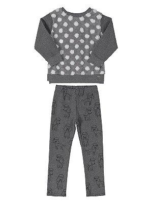 Conjunto Infantil Up Baby Blusão Pêlo Calça Molecotton Cinza