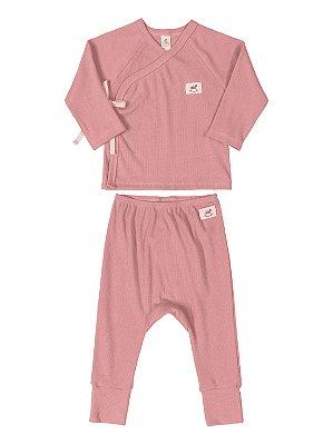 Conjunto Up Baby Casaco Calça Canelada Ribana Nature Rosa