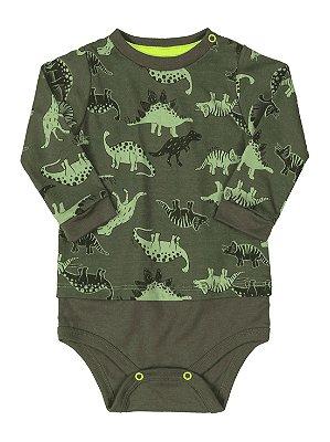 Body para Bebê Up Baby Malha Longa Dinossauros Verde