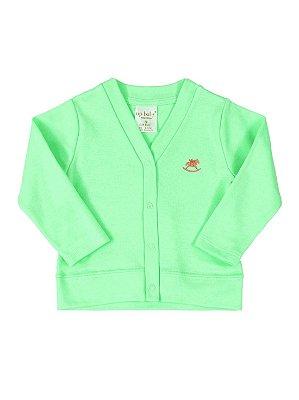 Casaco Up Baby Básico Longa em Suedine Verde Claro
