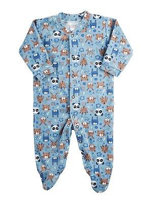 Macacão Bebê Ami de Lit Longo Plush com Pezinho Alce Azul
