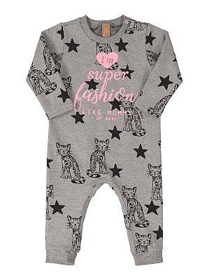 Macacão bebê Up Baby Longa  Moletom com Faixa Cabelo Fashion