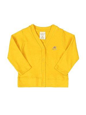 Casaco Up Baby Básico Longa em Suedine Amarelo Escuro