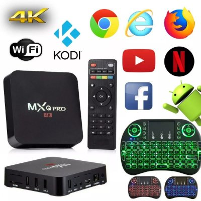 Mxq Pro 4k Android 2gb Ram 16gb Rum + Mini Teclado Com Led