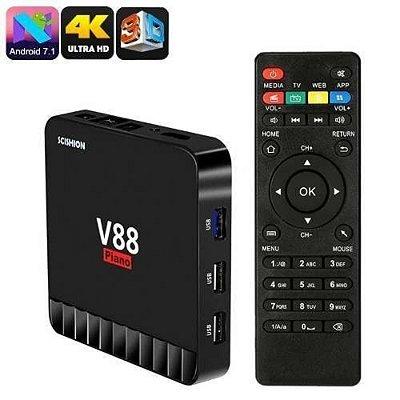 Tv Box 4 Gigas de Memoria Ram V88 Piano 16gb Emmc 4k Androide