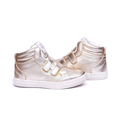 Sneaker 100% Couro. Dourado. Fecho Velcro.