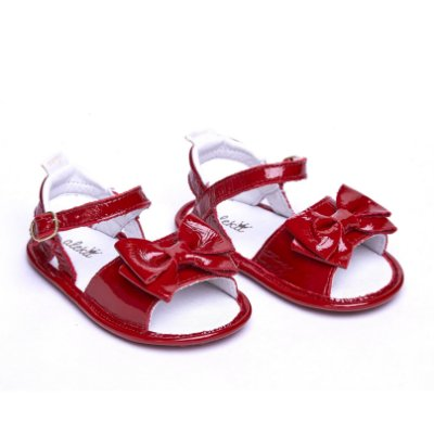 Sandália 100% Couro.Verniz Vermelho. Macia e Flexível.