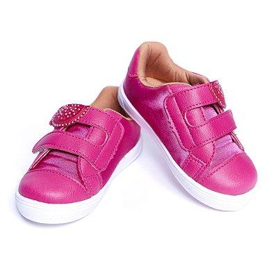 Tenis Sintético. Pink Melancia. Fecho Velcro.