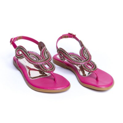 Sandália Rasteirinha Bordada - Pink