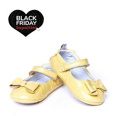Sapato Baby Couro Verniz - Amarelo Baunilha