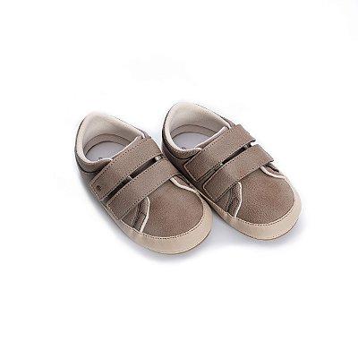 Tenis Baby Velcro - Cinza & Bege