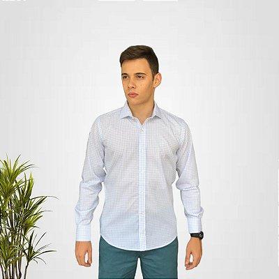 Camisa Social Branca Quadriculada