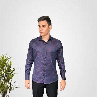 Camisa Social Floral Bordo
