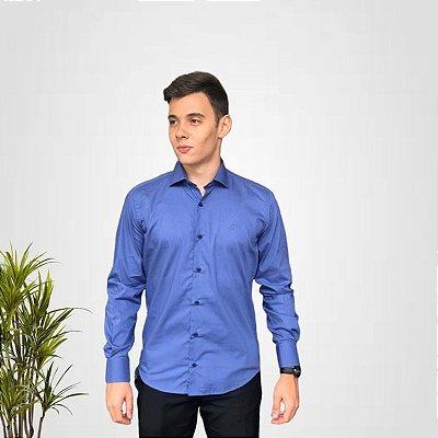 Camisa Social Azul Lisa