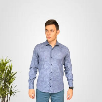 Camisa Social Floral Cinza