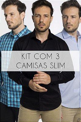 Kit Com 3 Camisas Sociais
