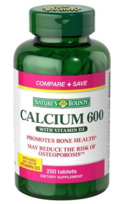 Cálcio 600 com Vitamina D3 Importado - 250 cápsulas Econômico