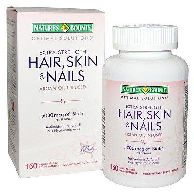 Hair, Skin & Nails com Óleo de Argan e Ácido Hialurônico - 150 cápsulas