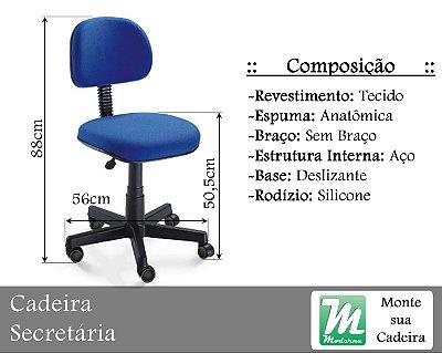 Cadeira Secretária Deslizante c/ Base em Aço