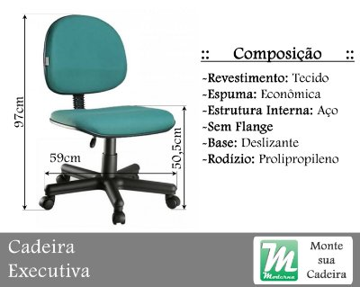 Cadeira Executiva Deslizante c/ Base Aço