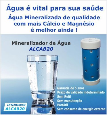 MINERALIZADOR DE ÁGUA ALCAB20 / COM  INFRAVERMELHO LONGO / ANTI BACTÉRIAS