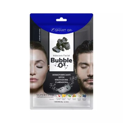 MÁSCARA FACIAL BUBBLE O² CARVÃO ATIVADO SMART GR