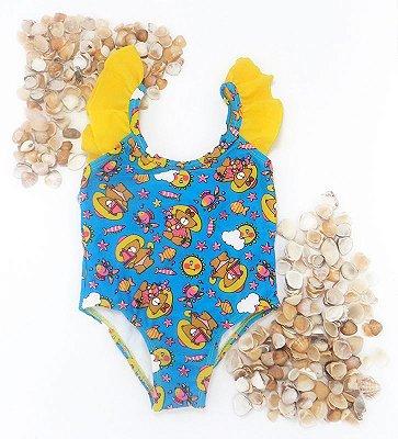 Maiô Bebê Amarelo e Azul