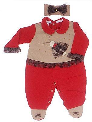 Macacão Bebê Menina Vermelho e Faixa