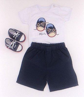 Conjunto Body e Short Bebê com Tênis