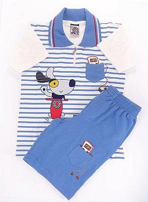 Conjunto Camisa Polo com ziper e Short