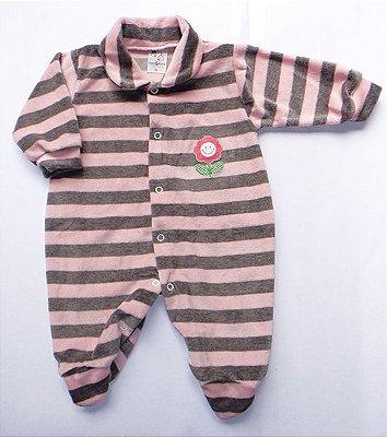 Macacão Bebê Menina Listrado