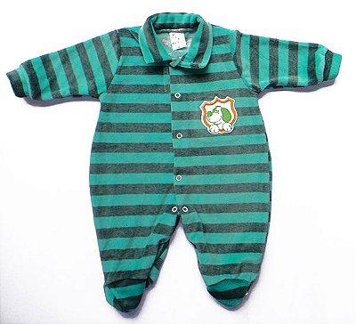 Macacão Bebê Menino Listrado Verde