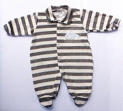 Macacão Bebê Menino Listrado Cinza