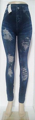 Calça Legging Jeans Rasgado