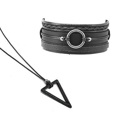 Colar Masculino Triangle + Kit Pulseira Circular