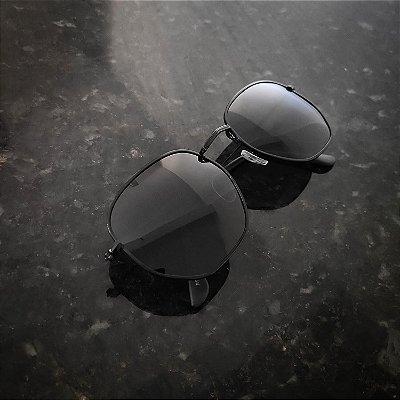 Óculos De Sol Hexagonal Preto (G)